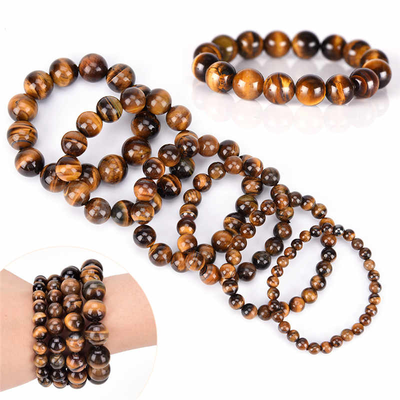 Natural Stone Bead Buddha Bracelets Tiger Eyes Bracelet Pulseras Mujer Men Women 6mm 8mm 10mm 12mm 14mm 16mm