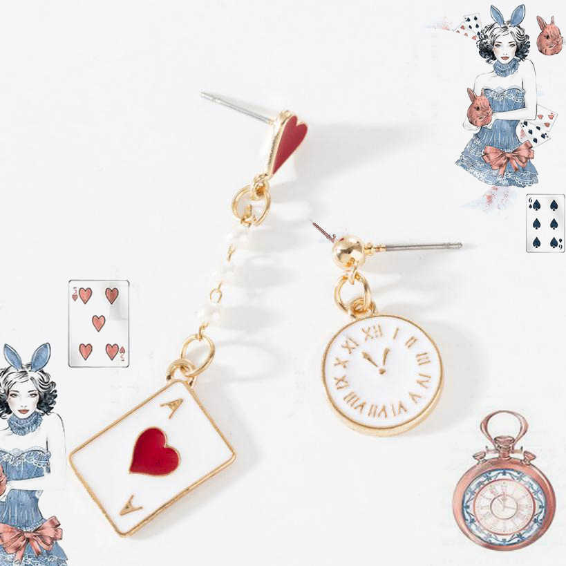 Alice In Wonderland Cute Earring Poker Rabbit Hollow Dangle Earrings Metal Accessories Kids Fans Gift