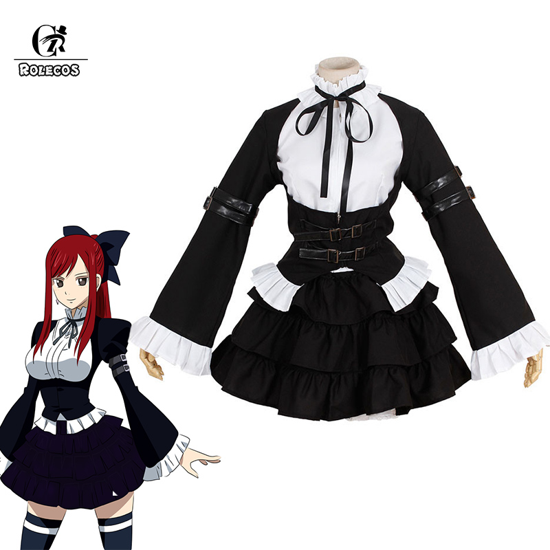 ROLECOS Fairy Tail Erza Scarlet Cosplay Costume Gothic Lolita Dress For Women Maid Cosplay Costume Anime Halloween Party