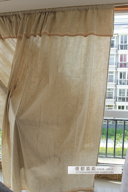 Hemp Curtain Head Linen Cotton Balcony French Quality Curtains 180*246  2pcs/set