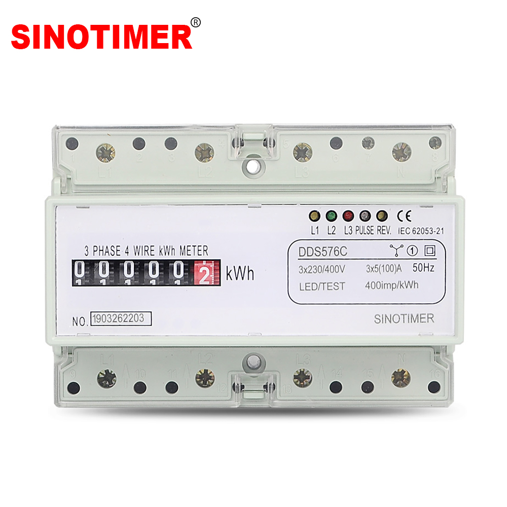5(100)A 380VAC 50/60Hz Three Phase 4 Wire Analog Energy Counter Simulate Power Monitor DIN Rail With Pulse Output