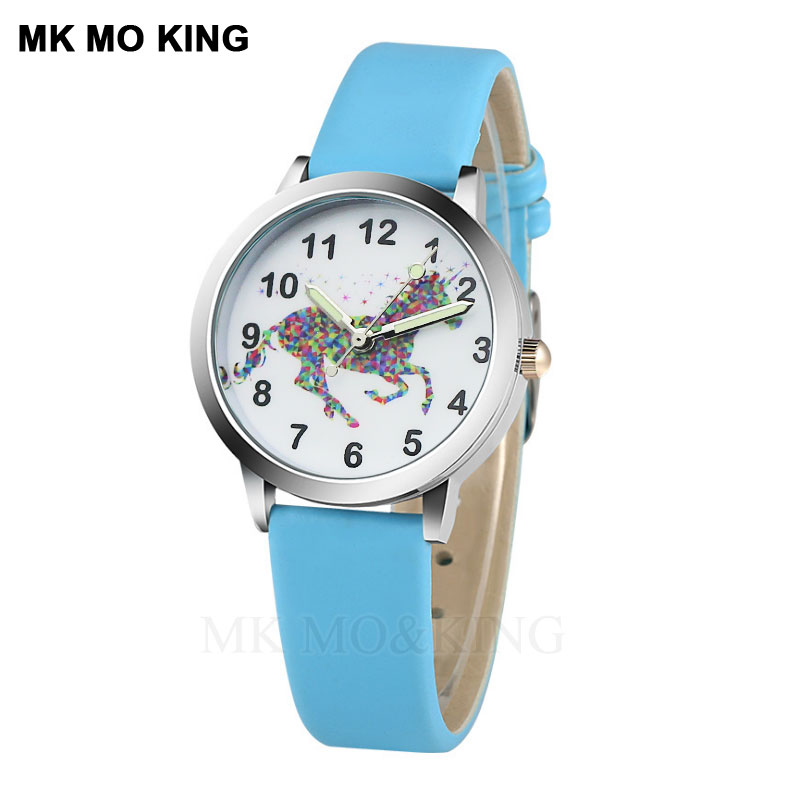 Brand Quartz Children's Watch Card Crystal Leather Pegasus Cartoon Girl Clock Fashion Boy Child Birthday Gift Bracelet Relogio