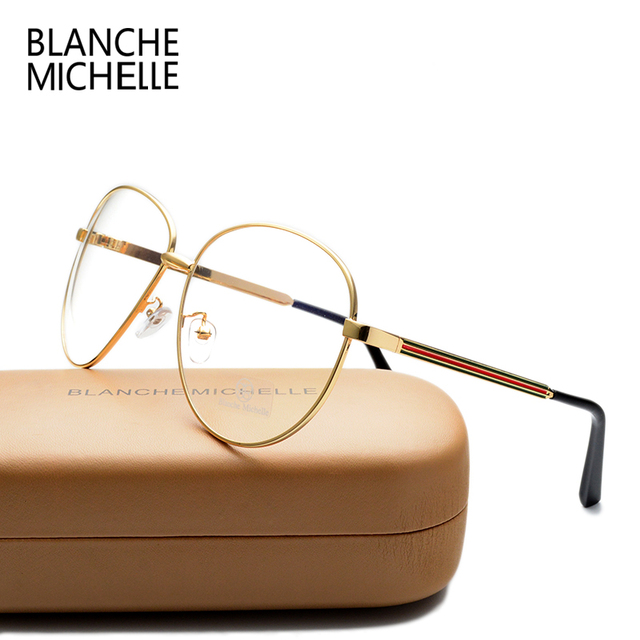 Новый Роскошный Красочные Полосы Негабаритных Золото Обычная Очки Рамки Металла Старинные очки Кадр Женщины Мужчины Мода Очки С коробкой
