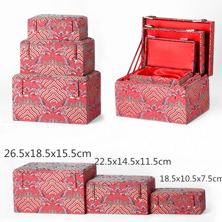 Luxury Soft Rectangle Chinese Silk Fabric Storage Box Wooden Decorative Boxes Packaging Jewelry Collectible Trinket Boxes in Gift Bags Wrapping Supplies from Home Garden
