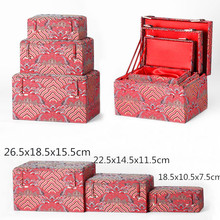 Luxury Soft Rectangle Chinese Silk Fabric Storage Box Wooden Decorative Boxes Packaging Jewelry Collectible Trinket