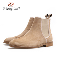 Piergitar 2018 New Handmade Men CHELSEA Boots classic style Cow Suede Men's casual boots outfit perfect for Spring Autumnal wear