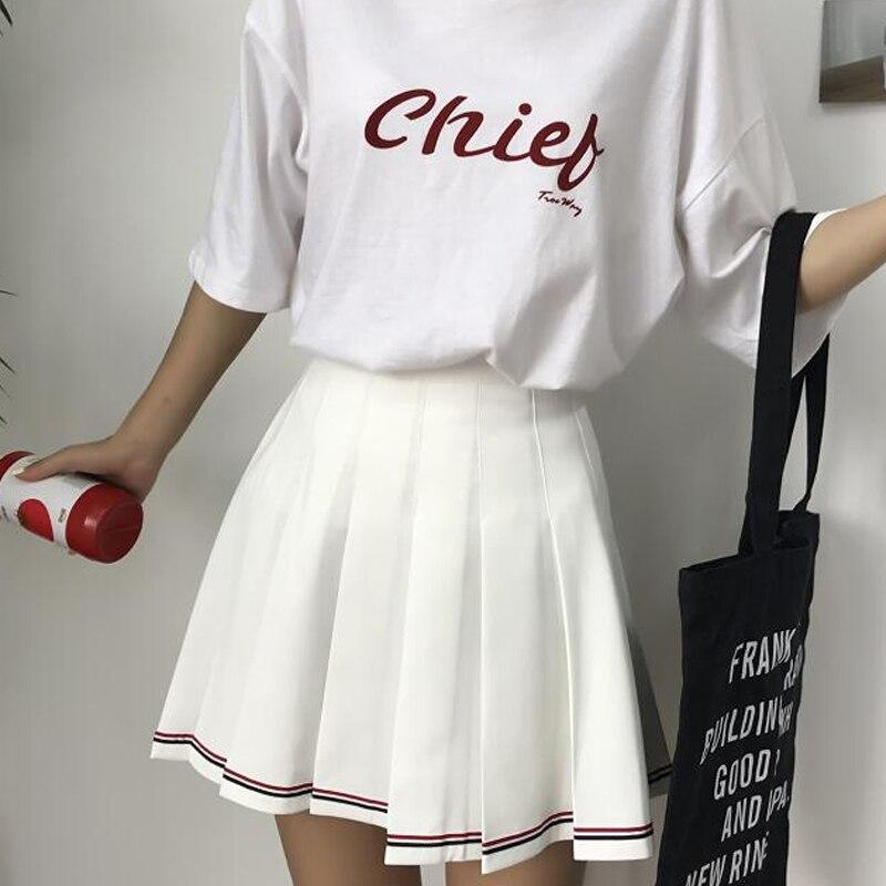Fashion Striped Skirts Women Summer Korean Preppy Style High Waist Slim Pleated Skirt Student A-line Sweet Mini Saias