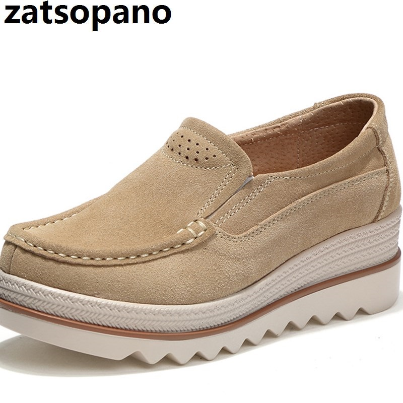 Brand 2019 Spring Women Flat Shoes Platform Sneakers Shoes   Leather     Suede   Casual Shoes Slip On Flats Heels Creepers Moccasins