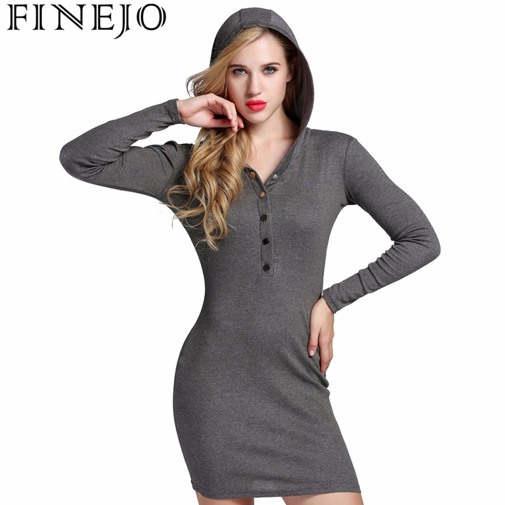 FINEJO Hooded Long Sleeve Dress 2017 Autumn V Neck Bodycon Cotton Fit Button Solid Casual Party Pencil Dress Plus Size XXXL