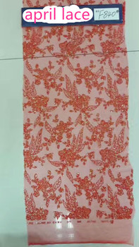 5yards f840  red  floral pattern glued print glitter sparkle net tulle mesh lace for fashion designer/ wedding/party
