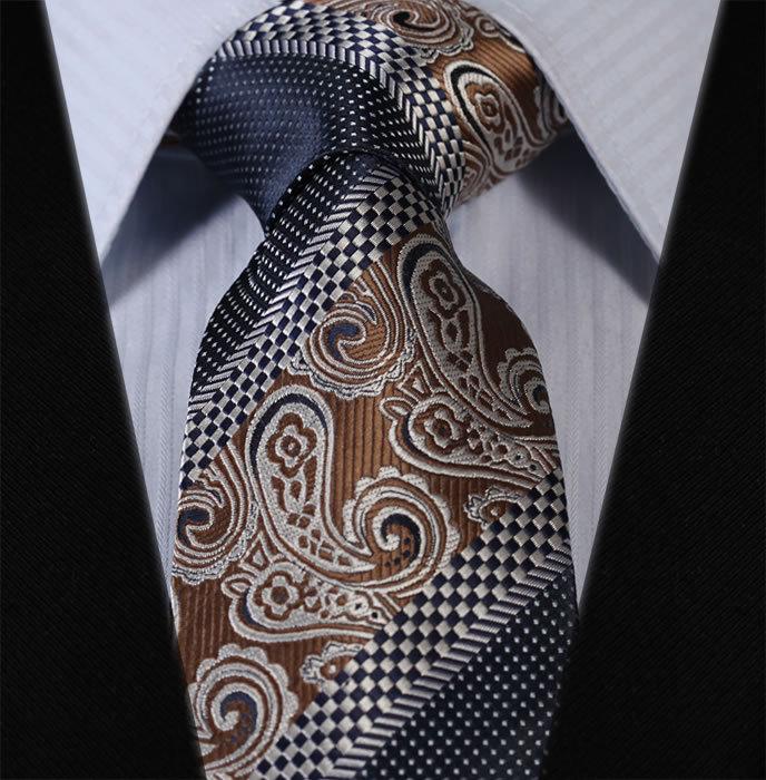 "TFS007Z8 Brown Navy Blue Stripe Floral 3.4"" Silk Lots Wedding Jacquard Man Tie Necktie Pocket Square Handkerchief Set Suit"