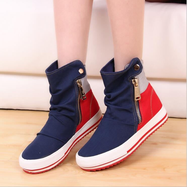 ФОТО Women Casual Shoes 2016 New Autumn High Top Canvas Shoes Breathable Zip Leisure Flat Platform Cow Muscle Sole Ankle Boots Women