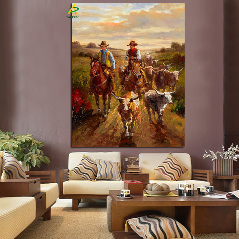 Us 3 49 30 Off Ywdecor Cowboy Knight Herding The Cows Oil Painting Hd Print On Canvas Pastoral Wall Painting Art Picture For Living Room Decor In