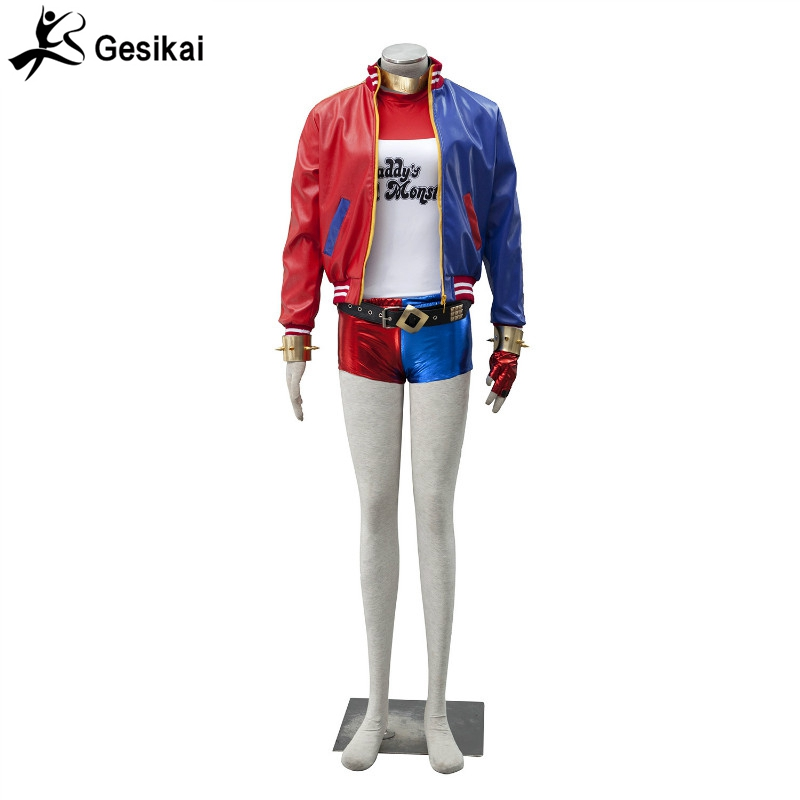 Batman Harley Quinn Comando Suicida Chaqueta set completo de Cosplay Ropa de Mujer bordado Chaqueta + Camiseta + Shorts + Guantes + accesorios
