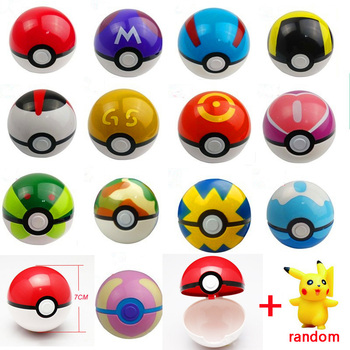 ZHAOKAOFEI 2017 Hottest Kids 1Pcs Pokeball + 1pcs Free Random Tiny Figures Inside Anime Action & Toy Figures for Children