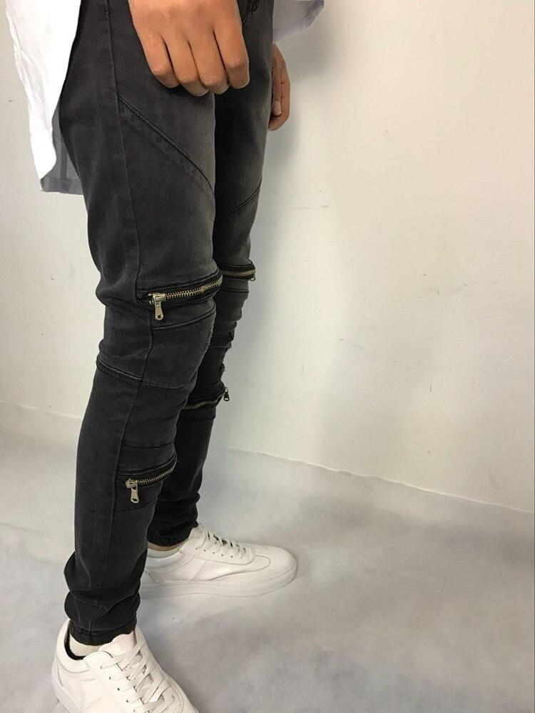 e207cb090f5d New Sale Knee hole Ripped Men's Skinny jeans Hip Hop Rock Bottom Zipper  Stretch Denim Pants biker motorcycle men black jeans-in Jeans from Men's  Clothing on ...