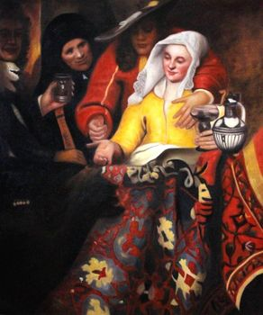 100% Hand-painted Oil Reproduction Procuress by Johannes Vermeer Canvas Art Painting for Living Room Classic Portrait Painting
