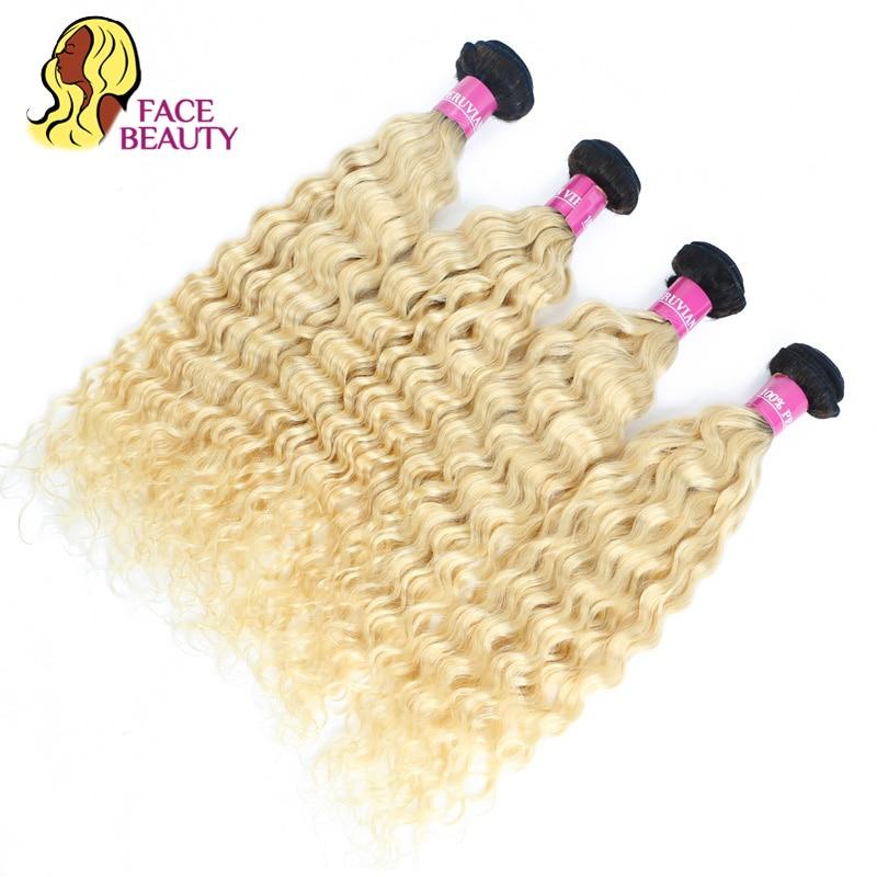 Image 3 - FaceBeauty Honey Blonde Ombre Bundles 1/3/4 Pcs Lot 12  28 Inch Brazilian Remy Human Hair Weave 1B 613 Blonde Curly Hair Bundles-in Hair Weaves from Hair Extensions & Wigs