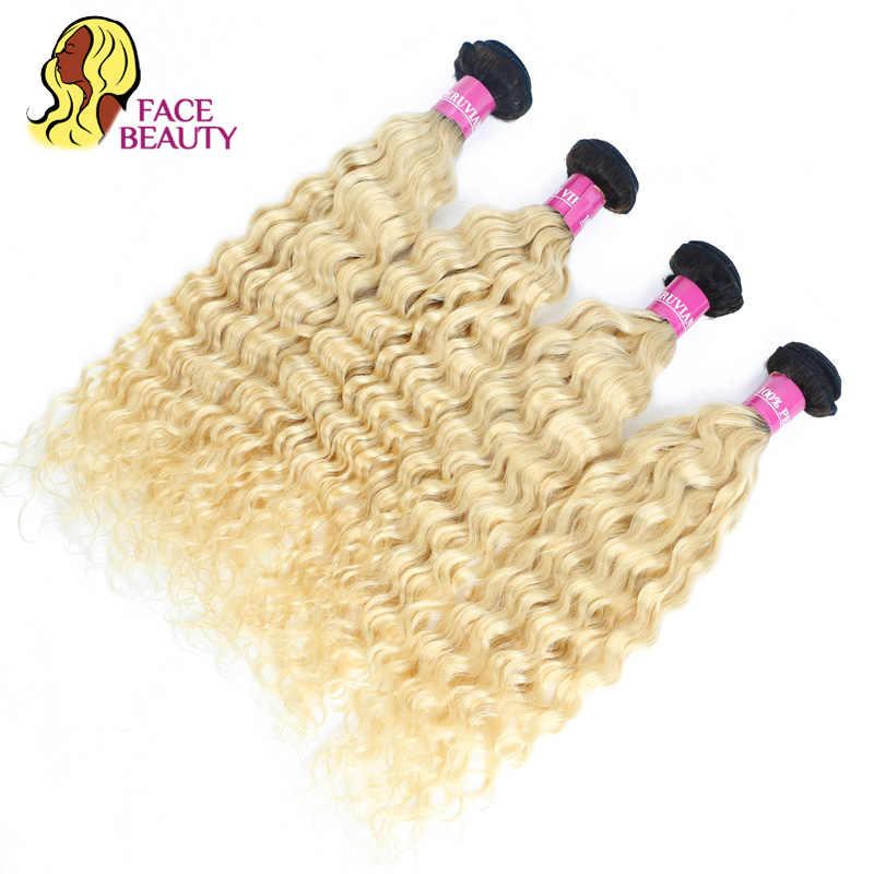 Facebeauty mel loira ombre pacotes 1/3/4 pçs lote 12-28 Polegada brasileiro remy tecer cabelo humano 1b 613 loira feixes de cabelo encaracolado