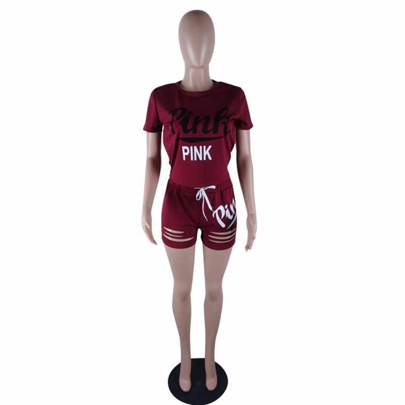 RAISEVERN ピンクレタープリント 2 個セットトラックスーツ女性トップと中空パンツカジュアル衣装スウェット 2 個スポーツウェア 3XL