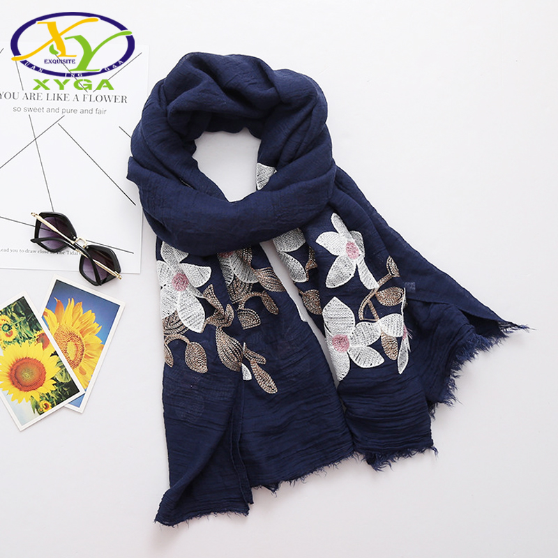 66449888eea9c 1PC 180*120CM 2018 Summer New Ethnic Style Embroidered Cotton Fashion Women  Long Scarf Woman New Linen Shawls Pashminas Shawl