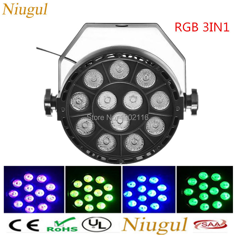 RGB 3IN1 LED Par 12x3W LED Stage Light Par Light With DMX512 for disco DJ projector machine KTV Christmas Party Decoration lamp hot ac 90 240v 54 x 1w rgb led stage light high power flat par light led stage lighting projector lamp for party ktv disco dj
