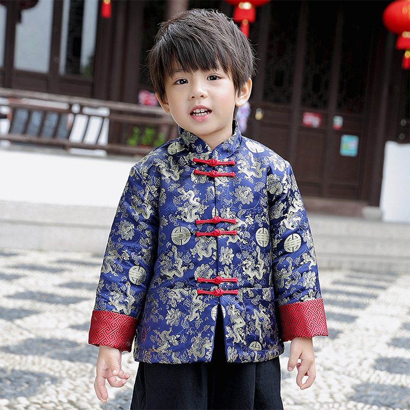 Tang Cheongsam C Long Sleeve Loose Coat Blue New Year Costumes For Kids Boy Chinese Qipao Children Chinese Style Winter Coat hot style three points children quilted loose coat