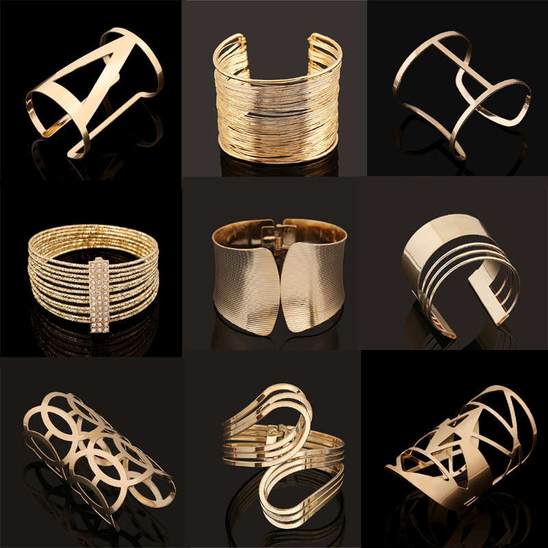 Fashion Vintage Bracelets 2017 Geometric Style Pop Punk Metal Women Unisex Charm Bracelets Bangles