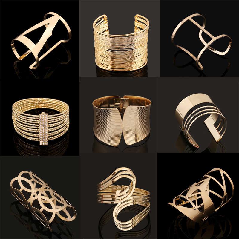 Mode Vintage Armbänder 2017 Geometrische Stil Pop Punk Metall Frauen Unisex Charme Armbänder Armreifen