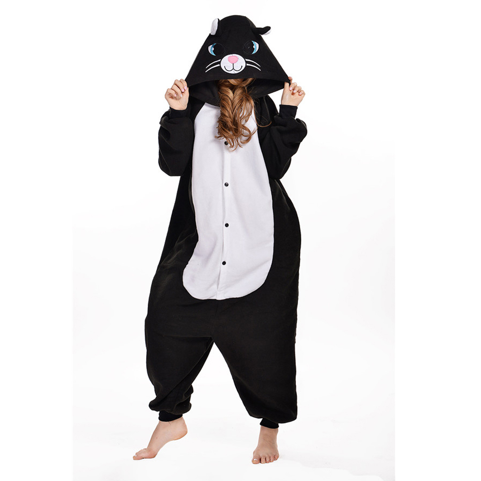 2016 Winter Black Cat Homewear Pajamas Soft Cartoon Costume Onesies Pajamas Family Onesie pijamas enteros de animales
