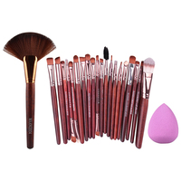 20Pcs Practical Eyeshdow Eyes Makeup Brush 1Pc Professional Makeup Large Fan Brush Sponge Puff Combination