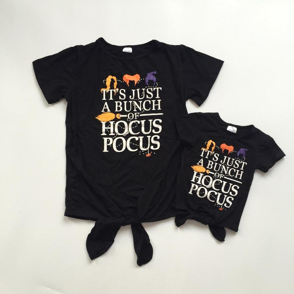 New Fall Halloween Baby Girls Boutique T-shirts Clothes Black Hair Cotton Tie Knot Top Children Raglans Short Sleeve Mommy & Me