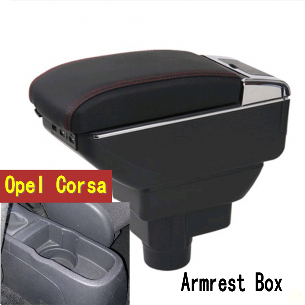 Armrest For <font><b>Opel</b></font> Vauxhall <font><b>Corsa</b></font> <font><b>D</b></font> 2006 - 2014 Arm Rest Dual Layer Storage Box Decoration Car Styling <font><b>2008</b></font> 2010 image