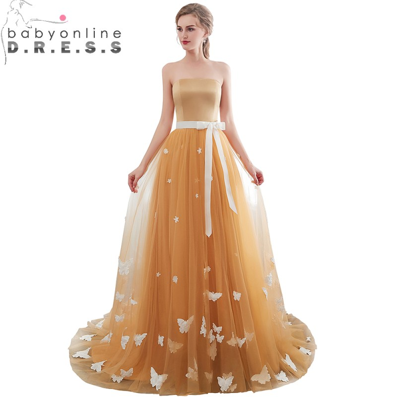 New Arrival White Butterfly Appliques Boat Neck Prom Dresses  Charming Gold Sleeveless Lace Up Open Back Prom Dress Vestidos