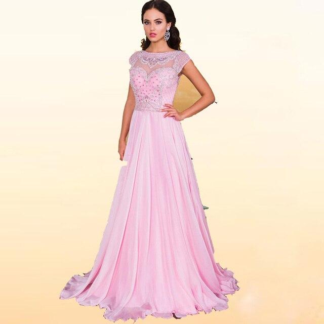 Aliexpress.com : Buy 2016 Pink Chiffon Formal Prom Dresses Beads ...