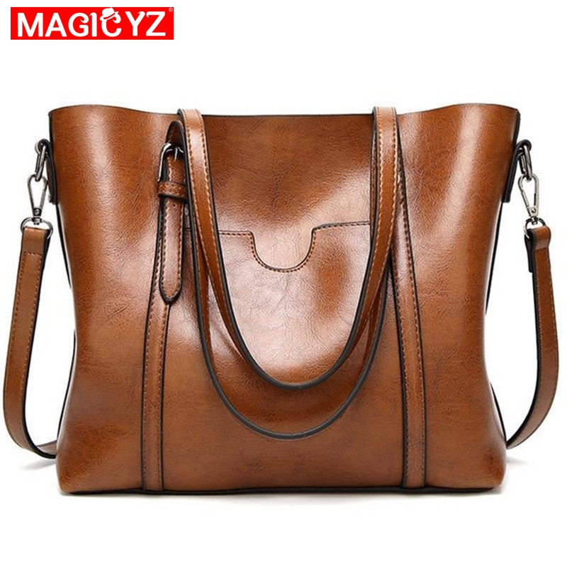 a6903ca46539 Women bag Oil wax Women s Leather Handbags Luxury Lady Hand Bags With Purse  Pocket Women messenger