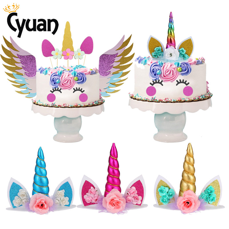 Unicorn Horns Cake Topper Cupcake Toppers Birthday Cake Decoration Boy Girl Baby Shower Wedding Party Favors Disposable Supplies