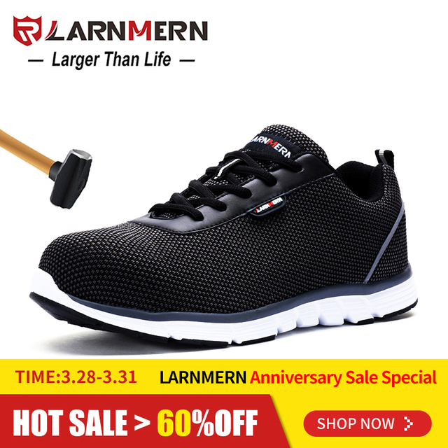 bb8b8b93257 US $40.47 48% OFF LARNMERN Mens Steel Toe Safety Work Shoes For Men Flyknit  Lightweight Breathable Anti smashing Non slip Protective Shoes-in Work & ...