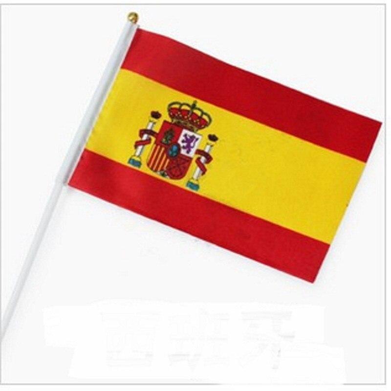 National Flag 5pcs 14 * 21cm Spain, Peru, Switzerland, England, Colombia, Mexico, Uruguay, Croatia Hand Waving National Flag(China)