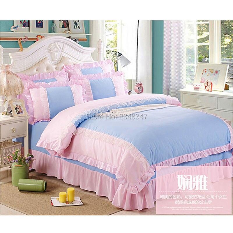 Pur coton doux princesse Rose dentelle drapé 4 Pc complet/reine taille lit couette/couette/Doona housse ensemble & drap solide violet bleu Rose rouge - 4