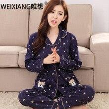 Weixiang весенние пижамы для женщин комплекты с длинными рукавами из 100% хлопка пижамы костюм Женский Плюс Размер M-3xl пижамы костюмы
