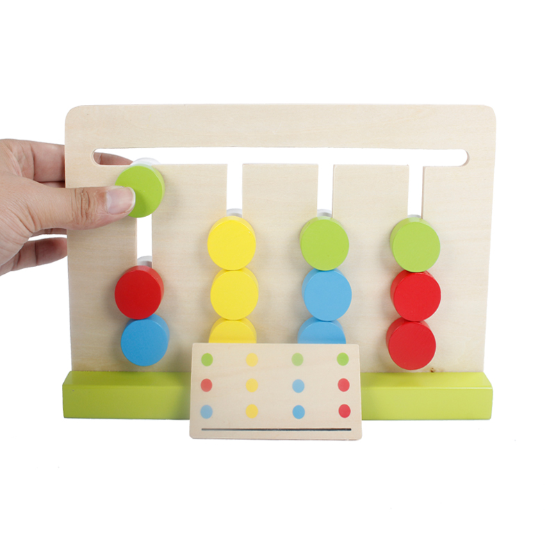 Baby Educational Toys Montessori Education Four Colours Game Beech Wood Science Wooden T ...