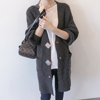 Pregnancy Clothes Woman Autumn Outwear Coats Maternity Clothing Cotton Loose Style Cardigan Knee Length Pocket Maternity