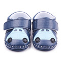 Alta calidad suela de goma patrón coche cosido a mano Hook & Loop cuero suave Prewalker del bebé y de la muchacha zapatos 0 - 12 M