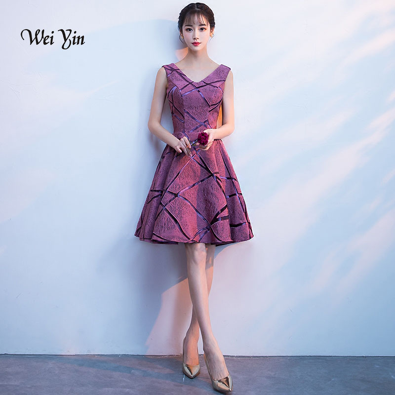 Weiyin Sleeveless Short Cocktail Dresses 2019 Autumn Party Gown A Line Formal Prom Dress Mini Length Lace Cocktail Dress WY896