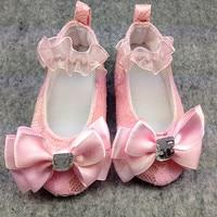 Pulsh Pink Sash Bow Handmade Princess Baby Girls Lace 1st Birthday Crystal Ribbon Bowknot Decor Soft Soled Infant Prewalkers