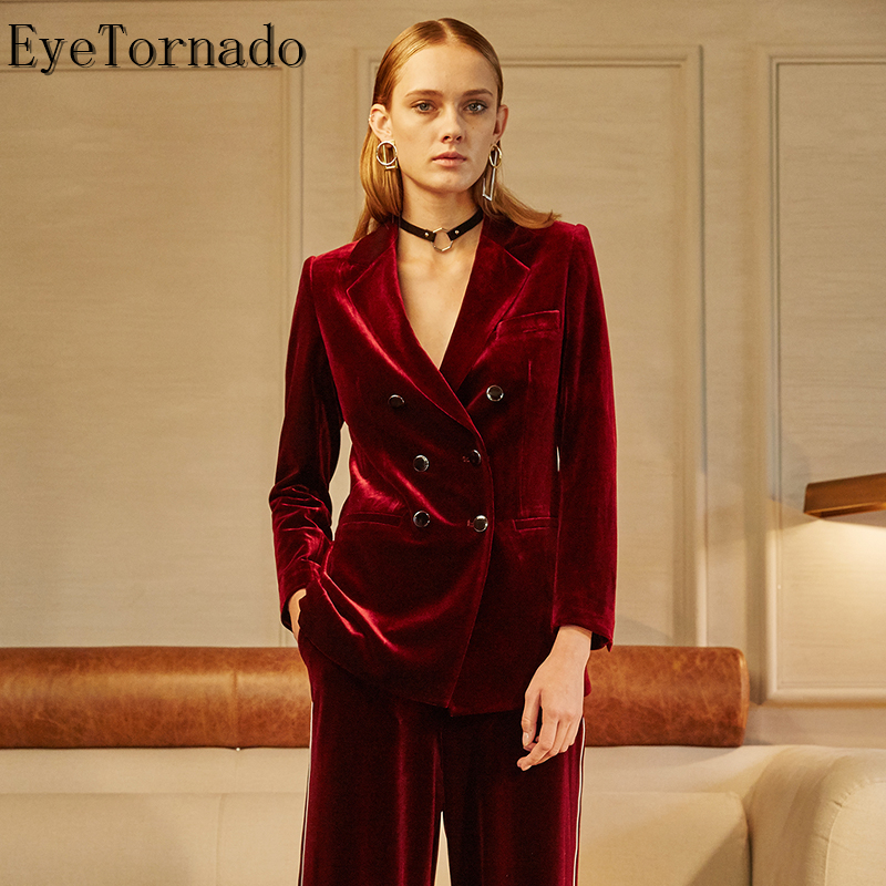 Women Spring Autumn Suit Fashion Double Breasted Casual Work Formal Basic Business Velvet Blazer Suit Outwear 9010