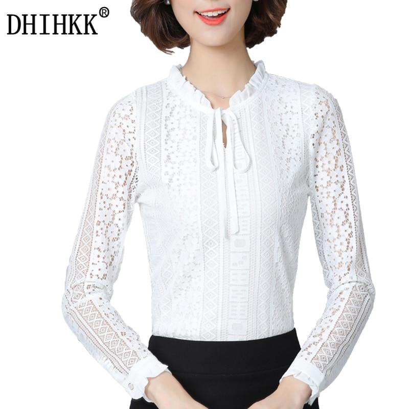 DHIHKK Official Store DHIHKK Femininas 2017 Spring Autumn Women Fashion Slim Shirt Tops Lace Long Sleeve All- match Blouse Office Lady Shirts Blusas