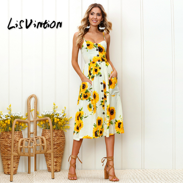 8a852c389ad8f Aliexpress.com : Buy LisVintion Women Sundress Sexy Casual Loose Robe Maxi  Vintage Dress Summer Strap Print Floral Dot Long Bohemian summer dress from  ...