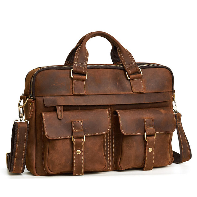 Crossten 100% Genuine Leather Men's Briefcase Tote messenger bag  15 3